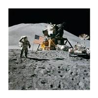 Framed Apollo 15 Lunar Module Pilot James Irwin Salutes the U.S. Flag