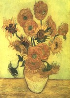 Framed Still Life, Vase With Fifteen Sunflowers