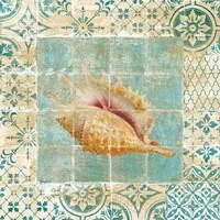 Framed Shell Tiles II Blue