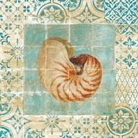 Framed Shell Tiles III Blue