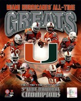 Framed University of Miami Hurricanes All Time Greats Composite