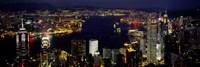 Framed Buildings Illuminated At Night, Hong Kong