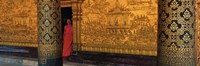 Framed Monk in prayer hall at Wat Mai Buddhist Monastery, Luang Prabang, Laos