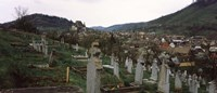 Framed Tombstones in a cemetery, Saxon Church, Biertan, Sibiu County, Transylvania, Romania