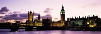 Framed Buildings lit up at dusk, Big Ben, Houses of Parliament, Thames River, City Of Westminster, London, England