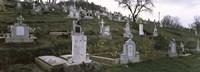 Framed Tombstone in a cemetery, Saxon Church, Biertan, Transylvania, Mures County, Romania