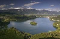 Framed High angle view of a lake, Lake Bled, Julian Alps, Bled, Gorenjska, Slovenia