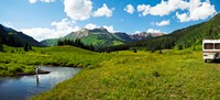 Framed Man camping along Slate River, Crested Butte, Gunnison County, Colorado, USA