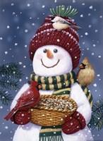 Framed Snowman Feeding Birds