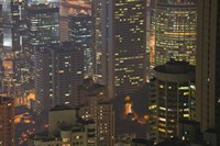 Framed High angle view of buildings lit up at dusk, Central District, Hong Kong