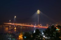Framed Bridge lit up at night, Ting Kau Bridge, Rambler Channel, New Territories, Hong Kong