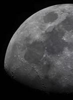 Framed limb and terminator of the waxing gibbous moon