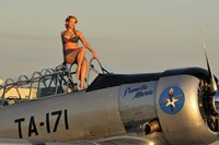 Framed 1940's style pin-up girl sitting on the cockpit of a World War II T-6 Texan