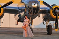 Framed Sexy 1940's pin-up girl in lingerie posing with a B-25 bomber