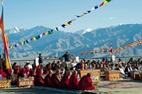 Framed Tibetan Ceremony in Shanti Stupa, Leh, Ladakh, India