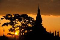 Framed Asia, Laos, Vientiane That Luang Temple, sunrise