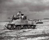 Framed American Sherman tank units, 1944