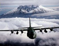 Framed C-130 Hercules aircraft flies over Mount St. Helens, Vancouver, Washington