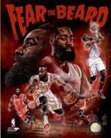 Framed James Harden Fear the Beard Portrait Plus