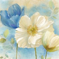 Framed Watercolor Poppies II (Blue/White)