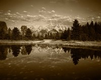 Framed Teton Range and Snake River, Grand Teton National Park, Wyoming (sepia)