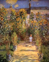 Framed Artist's Garden at Vetheuil with Boy, c.1880
