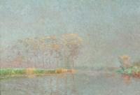 Framed Fog on the River Lys Canvas