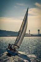 Framed Spain, Barcelona Sailboat on the Balearic Sea just off the Coast