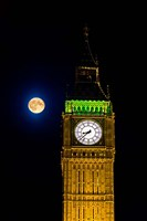 Framed London, Big Ben Clock tower, the moon