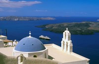 Framed Kimisis Theotokov Church, Thira, Santorini, Cyclades Islands, Greece