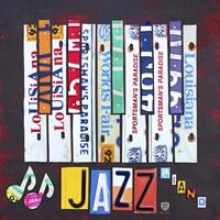 Framed License Plate Art Jazz Series Piano I