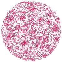 Framed Pink Flower Circle