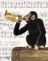 Framed Monkey Playing Trumpet