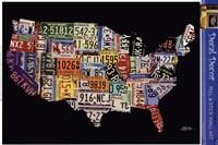 Framed USA License Map