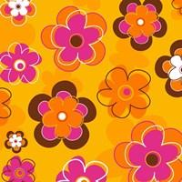 Framed Floral on Orange