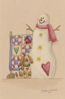 Framed Snowman With Dog