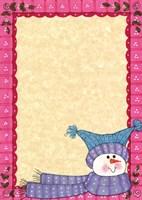 Framed Bright Snowman W/Pink Border