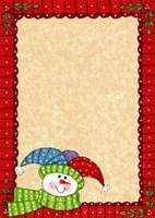 Framed Bright Snowman W/Red Border