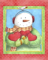 Framed Snowman Give Heart