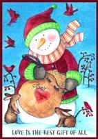 Framed Loves Bird Seeds Snowman With Border