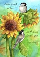 Framed Sunflower And Chickadee