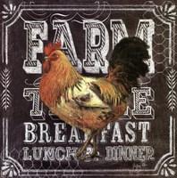 Chalkboard Rooster Farm Table Framed Print