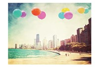Framed Chicago Balloons Over the City