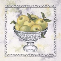 Framed Green Apples In A Silver Bowl
