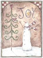 Framed Joy Primitive Snowman