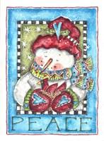 Framed Peace Snowman and Cardinal