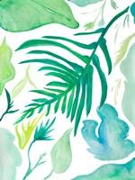 Framed Green Water Leaves I
