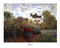 Framed Artist's Garden in Argenteuil (A Corner of the Garden with Dahlias), c.1873