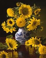 Framed Sunflowers in Blue & White Chinese Vase