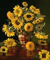 Framed Sunflowers in a Crimson Vase